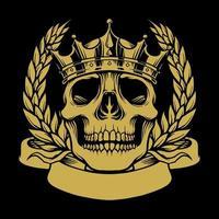 coroa de caveira dourada com ilustração de fita vetor