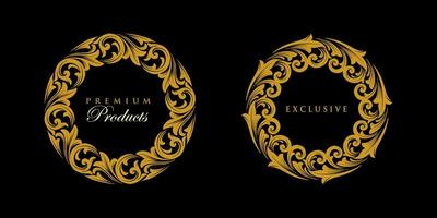 ornamento redondo conjunto de emblema de ouro