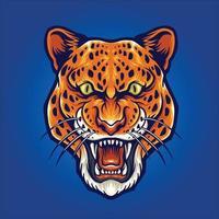 ilustração do retrato da cabeça do leopardo zangado agressivo vetor