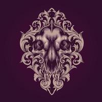 ilustração em vetor crânio de lobo com enfeites de moldura