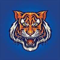 mascote esport com cabeça de tigre zangado vetor