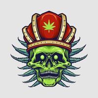 caveira de rei com coroa vermelha e folhas de cannabis vetor