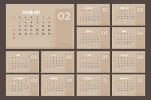 calendário marrom 2021 vetor