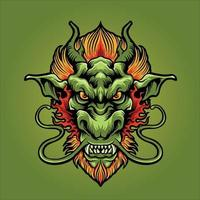 ilustração do mascote da cabeça do dragão zangado vetor