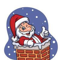 bonito santa celebrando o Natal com o polegar para cima a expressão. ilustração dos desenhos animados do vetor. vetor