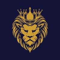 cabeça de leão de ouro com coroa vetor