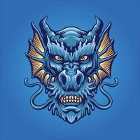 mascote cabeça de dragão azul zangado vetor