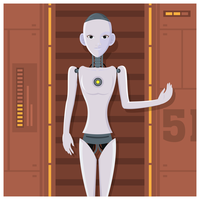 Robô Feminino Humanoid AI vetor