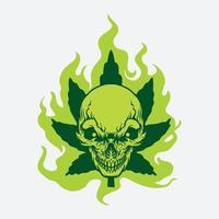 desenho de caveira verde folha de cannabis