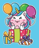 festa do unicórnio dos desenhos animados com balões e presentes vetor