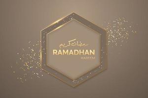 Banner de saudação ramadan kareem com moldura de luz vetor
