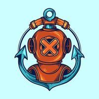 capacete de mergulhador e design de emblema de âncora vetor