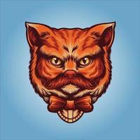 cabeça de gato cavalheiro laranja fofo