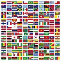 conjunto de bandeiras arredondadas do mundo vetor
