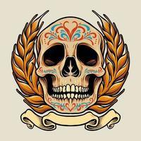 crânio do México com ilustração de banner