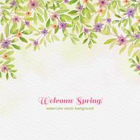 vector aquarela, bem-vindo, primavera, fundo