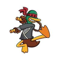 ilustração dos desenhos animados do vetor pato ninja. conceito de ícone do esporte animal em fundo branco.