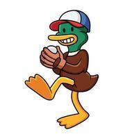 desenho animado pato jogando beisebol. ilustração em vetor clip art com gradientes simples em fundo branco.
