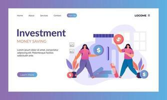 página de destino do investimento vetor