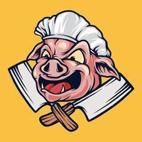 logotipo do mascote porco chef churrasco vetor