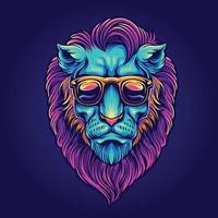 retrato psicodélico da cabeça do leão com óculos de sol vetor