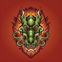 ilustração de cabeça de dragão com cabelo de fogo vetor