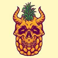 ilustração de verão de crânio de abacaxi vetor