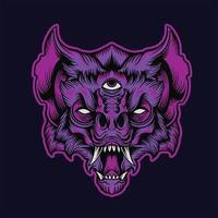 ilustração de monstro cabeça de morcego zangado vetor