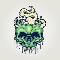 crânio de zumbi com fumaça vetor