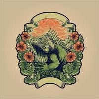 iguana verde animal enorme réptil com moldura de flor e fita vetor