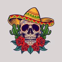 mascote do crânio mexicano cinco de mayo vetor