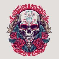 ilustração do crânio mexicano do dia de los muertos