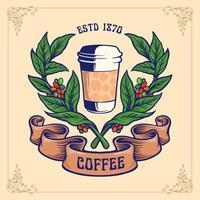 xícara de café com galhos e ilustração de banner vetor
