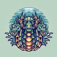 ilustração do mascote do personagem dragão hidra vetor