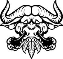 desenho de silhueta de búfalo fumaça vetor