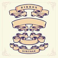 conjunto de fitas em estilo retro vintage vetor