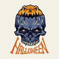 ilustração em vetor halloween abóbora caveira isolada
