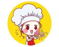 a pequena chef de confeitaria está feliz e sorridente, ilustração em vetor sorriso saboroso e doce