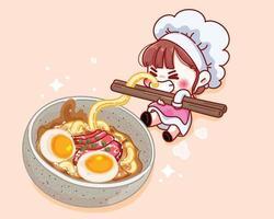 chef fofo segurando pauzinhos com macarrão perto da ilustração dos desenhos animados da sopa vetor