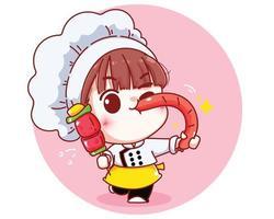 Chef fofo segurando um churrasco e uma ilustração de desenho animado de salsicha grelhada vetor