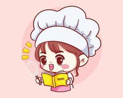 Garota fofa chef de padaria cozinhando e trabalhando em restaurante com livro de receitas e personagem de desenho animado de concha