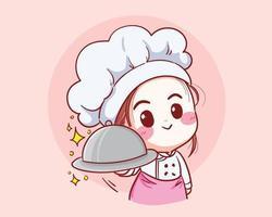 chef girl sorrindo e cozinhando com amor feliz em sua ilustração vetorial de cozinha vetor