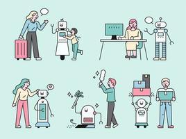tecnologia de robôs na vida cotidiana. vetor