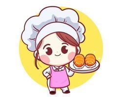 desenho animado do chef japonês com ilustração fofa da arte do sushi vetor