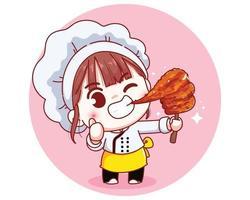 Chef fofo com ilustração de desenho animado de carne de porco com leite grelhado no espeto vetor