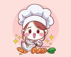 chef feminina cortando cenoura vegetal, cozinhando em vetor de desenho animado de cozinha