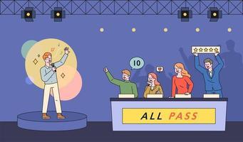 cena do programa de televisão do concurso de música. vetor