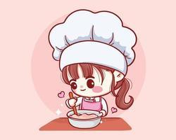 cozinheira de padaria fofa cozinhando ilustração de arte sorridente