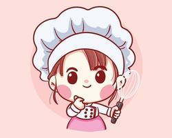 garota fofa chef de padaria segurando um batedor de desenho animado ilustração em vetor