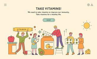 banner de página da web promovendo vitaminas. vetor
